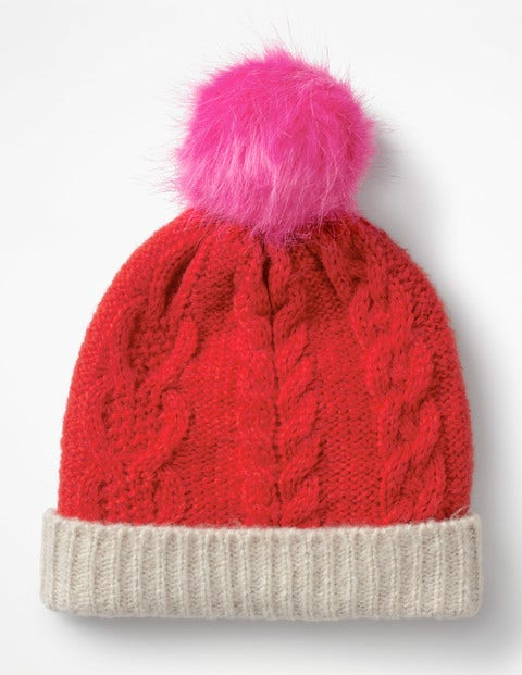 Cable Beanie Hat - Polish Red