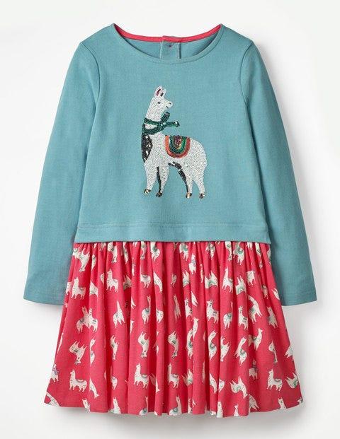 Sequin Logo Dress - Pink Berry Llamas