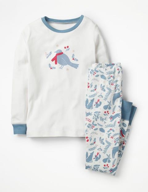 Cosy Long John Pyjamas - Ivory Woodblock