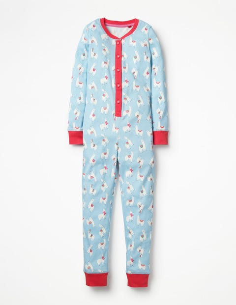 Cosy All-In-One Pajamas - Ice Blue Llamas