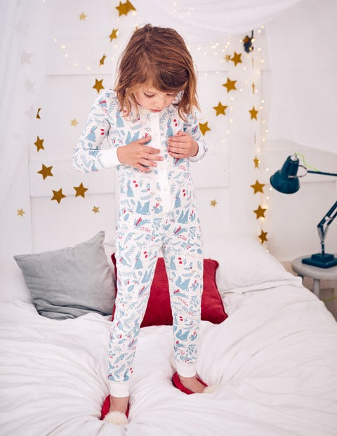 Cosy All-In-One Pajamas - Ivory Woodblock