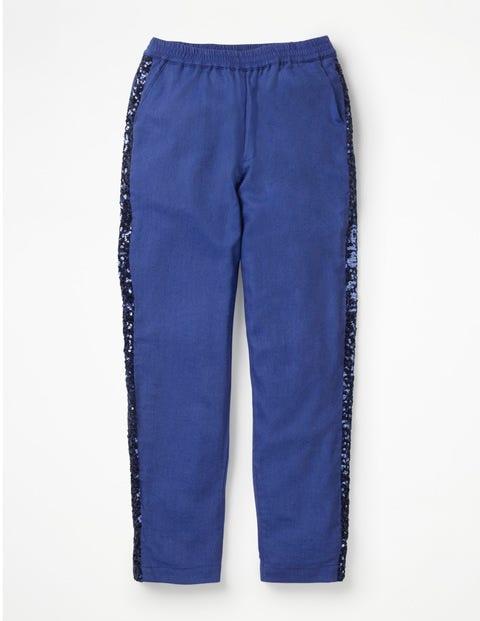 Sparkle Detail Woven Trousers - Cobalt Blue