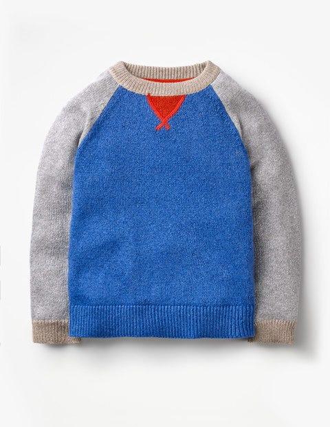 Bunter Raglan-Pullover - Kobaltblau