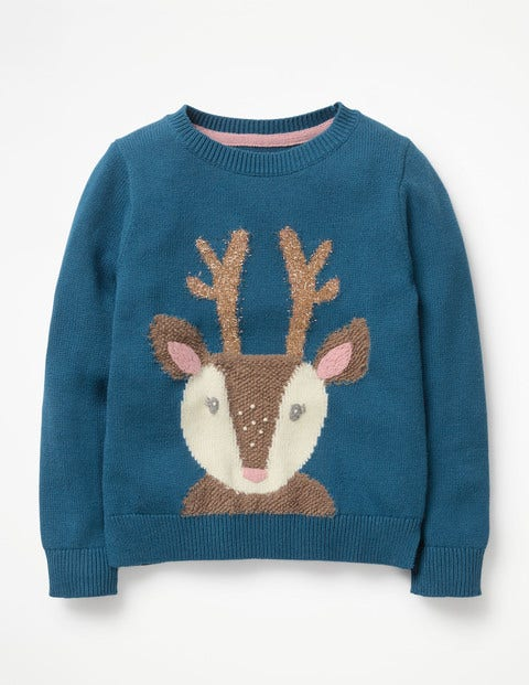 Knitted Character Sweater - Drummer Blue Reindeer
