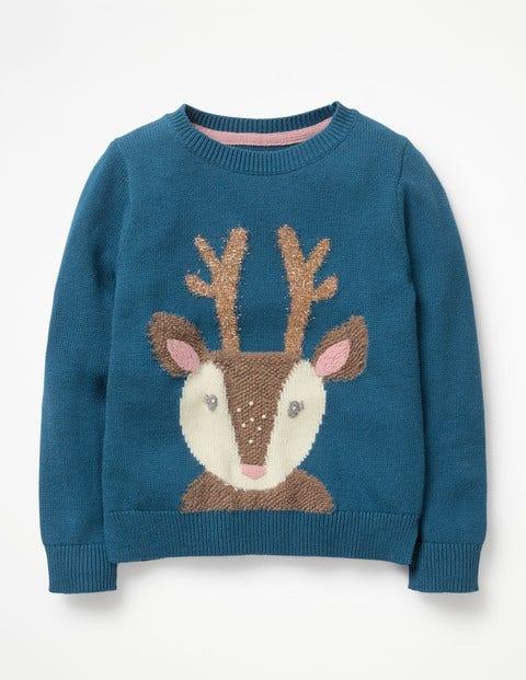 Knitted Character Jumper - Drummer Blue Reindeer