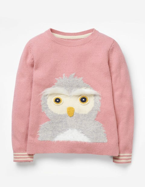 Knitted Character Sweater - Vintage Pink Owl