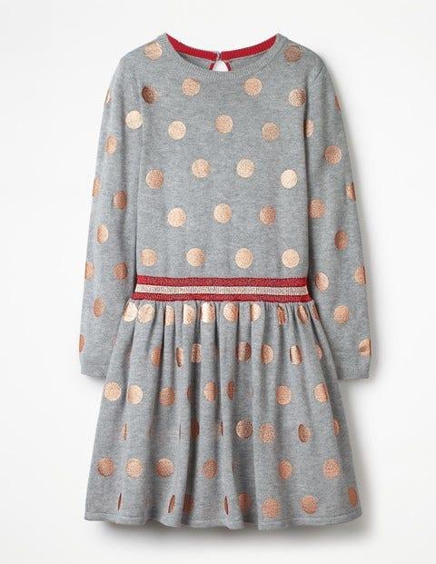 Foil Spot Knitted Dress - Grey Marl Foil Spots