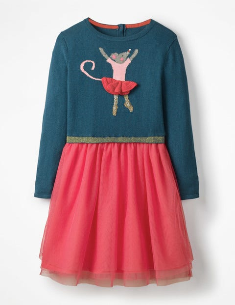 Fun Knit & Tulle Dress - Drummer Blue Mouse