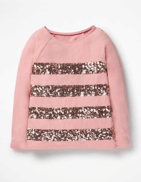 Sequin Stripe T-Shirt - Vintage Pink