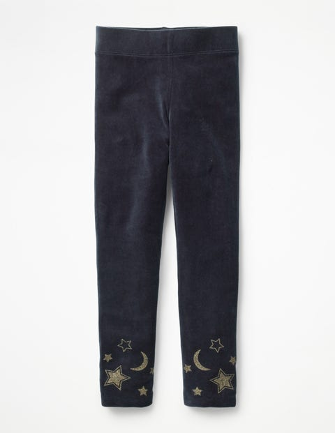 Embellished Velvet Leggings - Whale Grey Moon & Stars