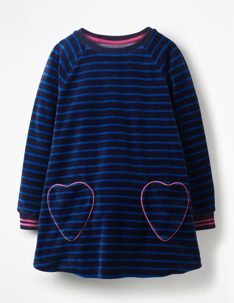 Velour Heart Pocket Tunic - School Navy/Cobalt