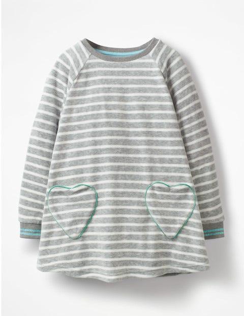 Velour Heart Pocket Tunic - Lavender Grey Marl/Ecru