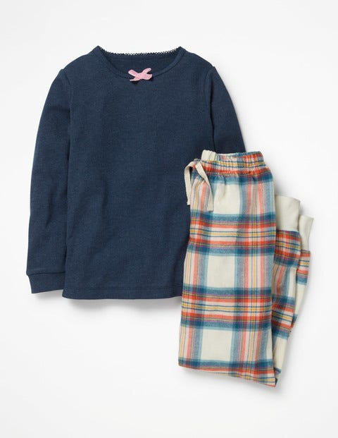 Woven Pyjama Set - Ivory/Drummer Blue Check