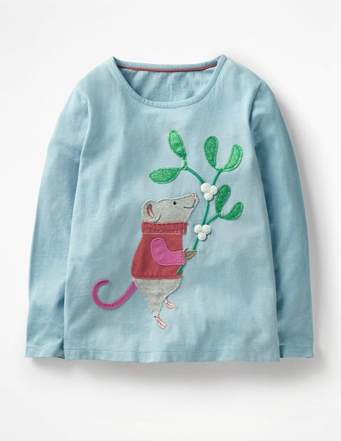 Festive Animals T-Shirt - Boathouse Blue Mouse