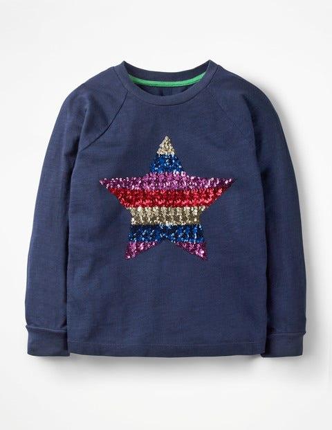 Sequin Appliqué T-Shirt - School Navy Rainbow Star