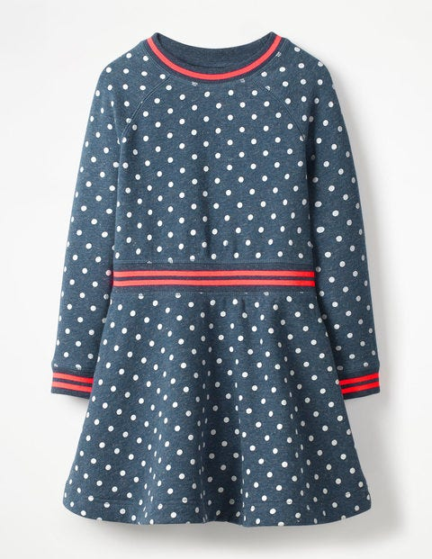 Cosy Jersey Swing Dress - Navy Marl Ecru Spots
