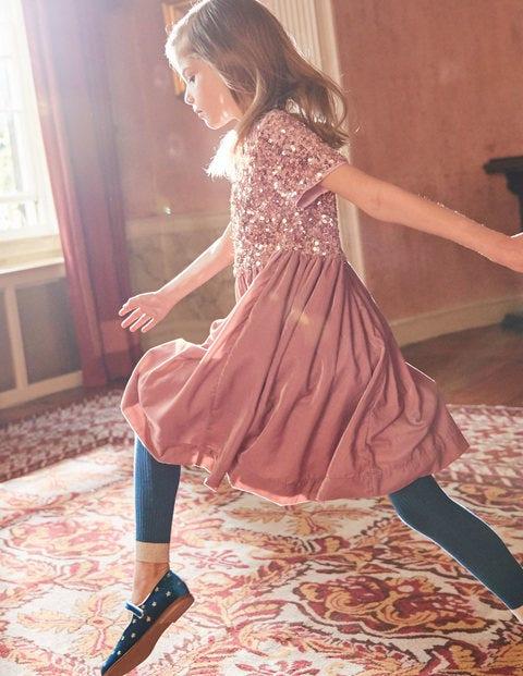 Velvet Sequin Party Dress - Vintage Pink