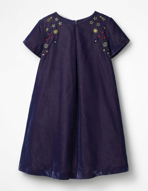 Velvet Space Embroidered Dress - Winter Purple
