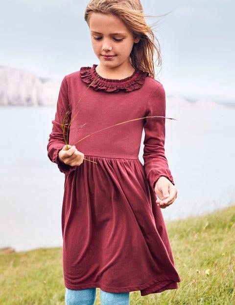 Supersoft Jersey Ruffle Dress - Bramble Red