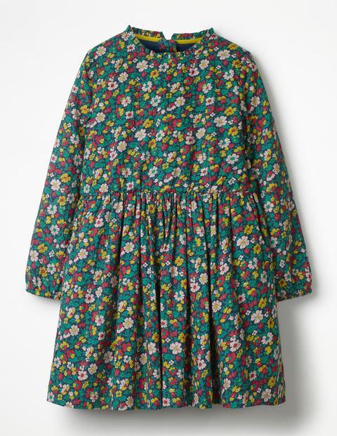 Gemustertes Kleid Mit Rüschenkragen - Schuluniform-Navy, Vintage-Blüte