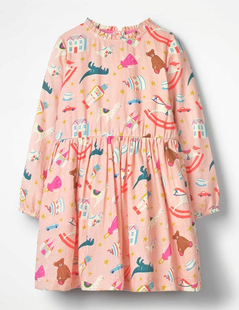 Printed Frill Neck Dress - Provence Dusty Pink Toy Box