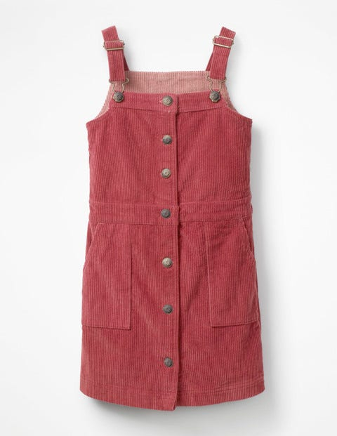 Jumbo Cord Pinafore Dress - Bramble Red