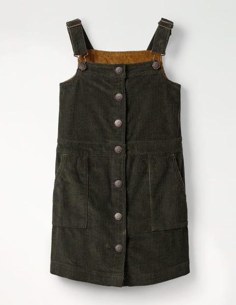 Jumbo Cord Pinafore Dress - Army Green