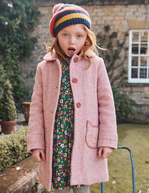 Wonderful Wool Coat - Pink Herringbone Cats