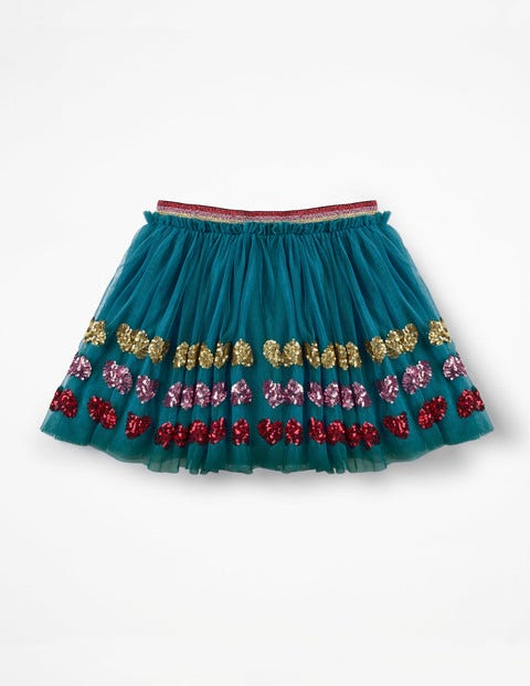 Appliqué Tulle Skirt - Drummer Blue Sequin Hearts