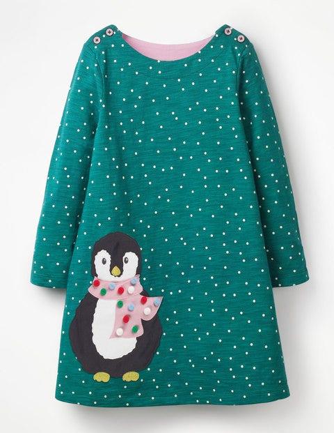 Spotty Animal Appliqué Dress - Drake Green Penguin