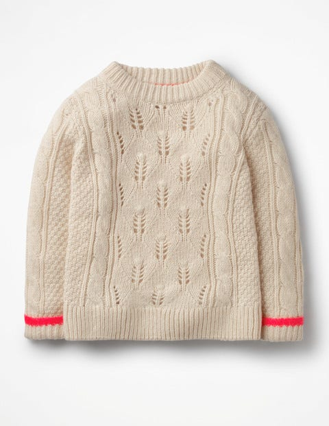 Textured Cable Knit Jumper - Ecru Marl