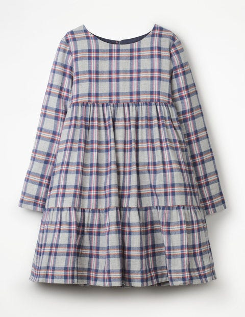 Embroidered Tiered Dress - Grey Marl Check