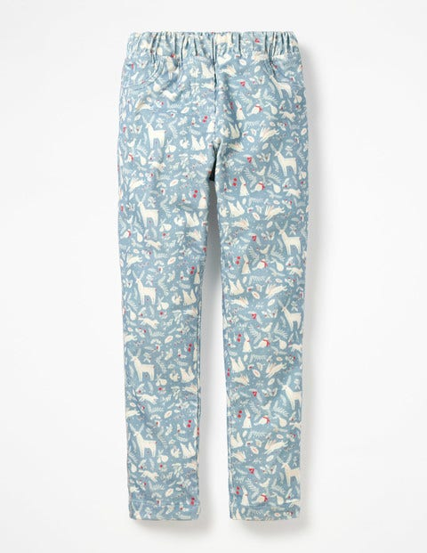 Cord Leggings - Boathouse Blue Woodblock