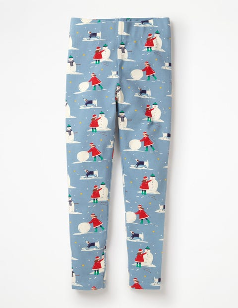 Fun Leggings - Boathouse Blue Snow Day