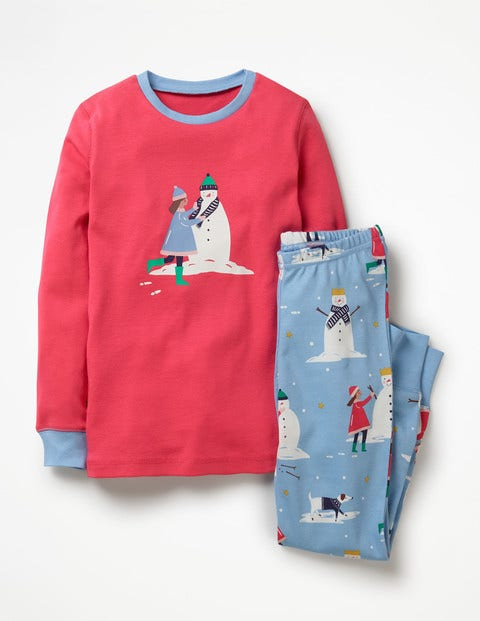 Cosy Long Johns Pajamas - Boathouse Blue Snow Day