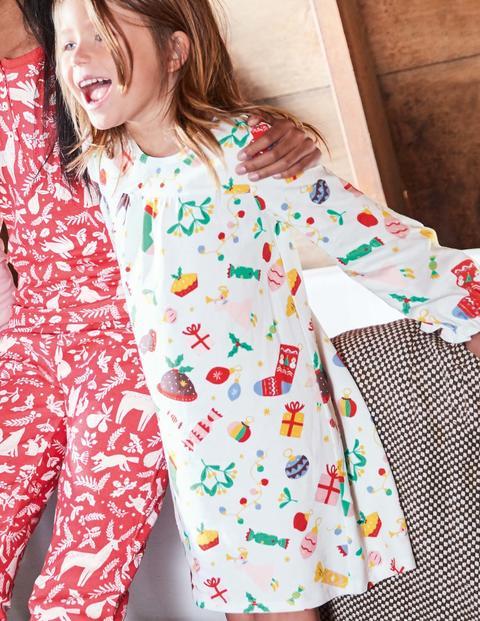 Printed Nightgown - Ivory Festive Fun