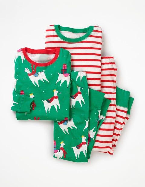 Twin Pack Long John Pyjamas - Green Pepper Fa-la-la-llamas