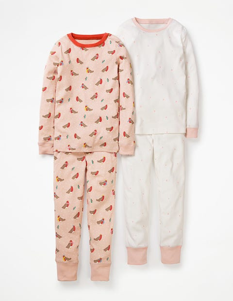 Twin Pack Long John Pyjamas - Provence Dusty Pink Robins