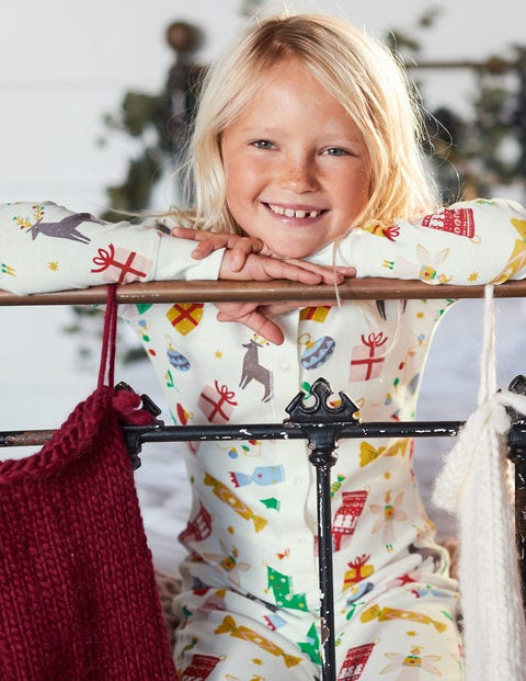 Cosy All-In-One Pajamas - Ivory Festive Fun