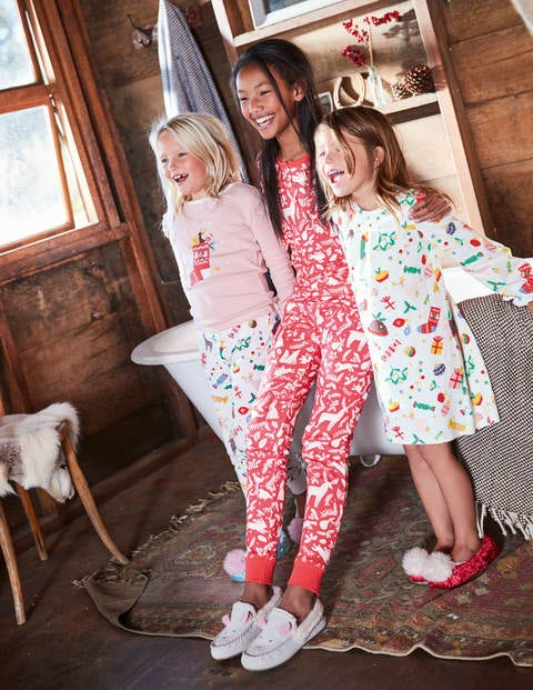 Henley Pajama Set - Pink Berry Woodblock