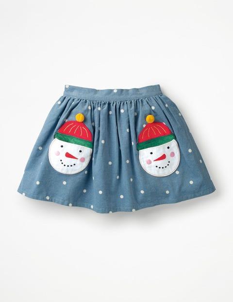 Fun Pocket Skirt - Boathouse Blue Jolly Snowmen