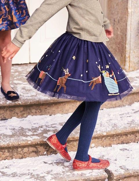 Appliqué Tulle Skirt - Prussian Blue Sleigh Scene