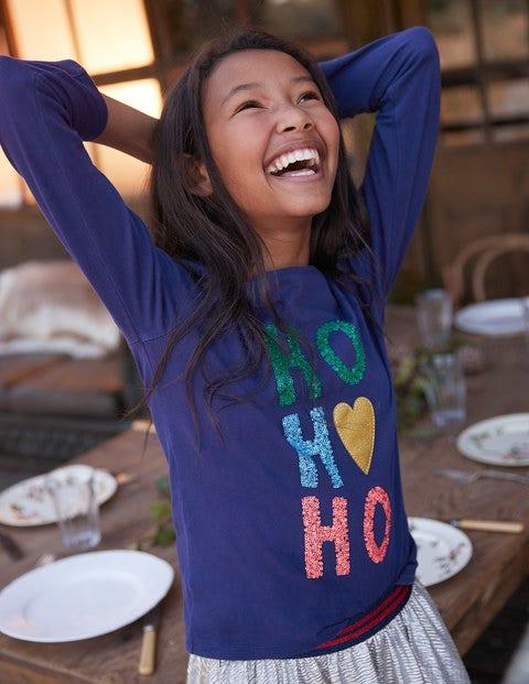 Festive Sequin T-Shirt - Prussian Blue HO HO HO