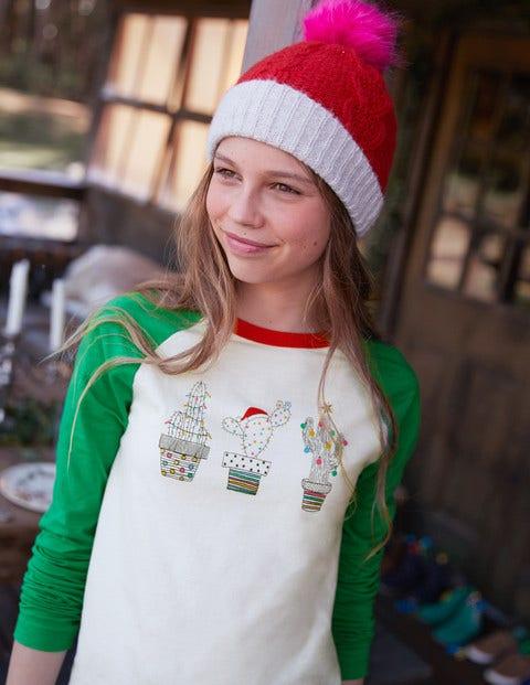 Festive Raglan T-Shirt - Ecru/Green Pepper Cacti