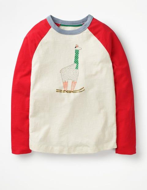Festive Raglan T-Shirt - Ecru/Polish Red Llama