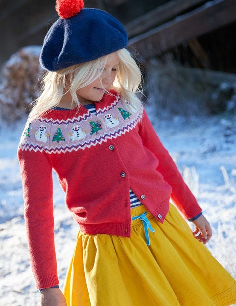 Festive Fun Cardigan - Polish Red Snowmen