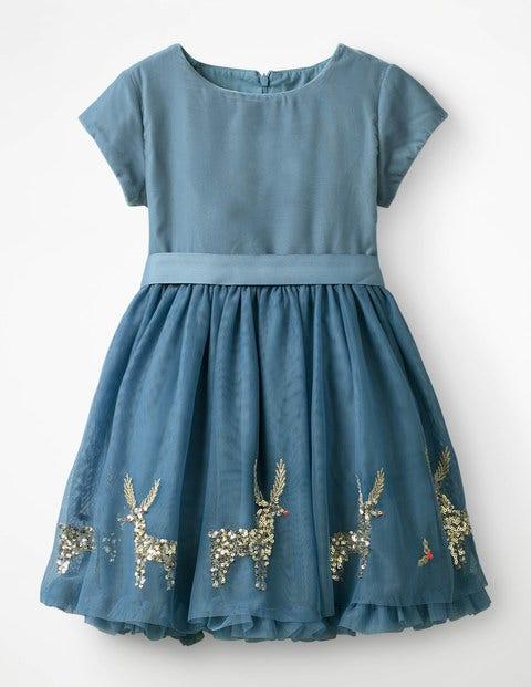 Velvet Appliqué Dress - Boathouse Blue Festive Scene