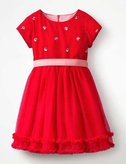 Kleid Mit Samtapplikation - Lackrot, Paillettentupfen