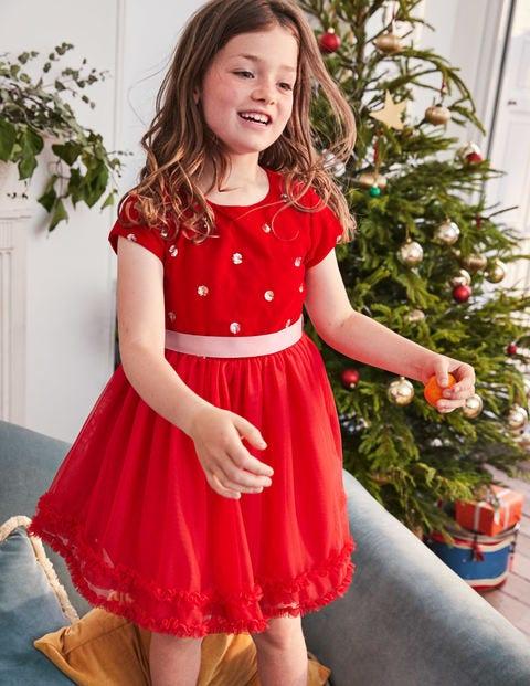 Velvet Appliqué Dress - Polish Red Sequin Spot