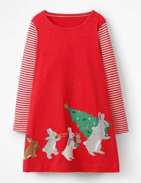 Festive Big Appliqué Dress - Polish Red Festive Bunnies